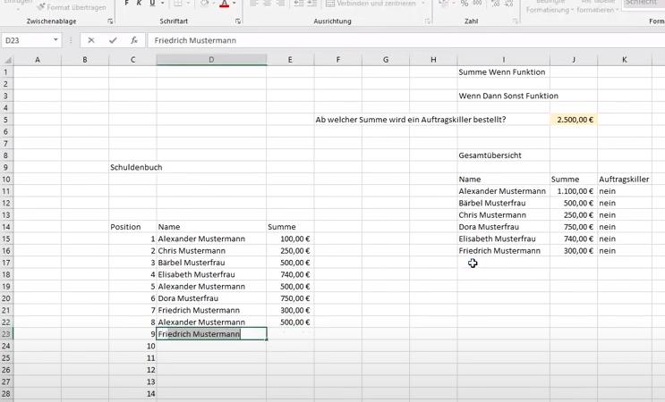 SummeWenn- / WennDannSonst- / ZählenWenn Funktion in Excel an einem leichten Beispiel erklärt.
